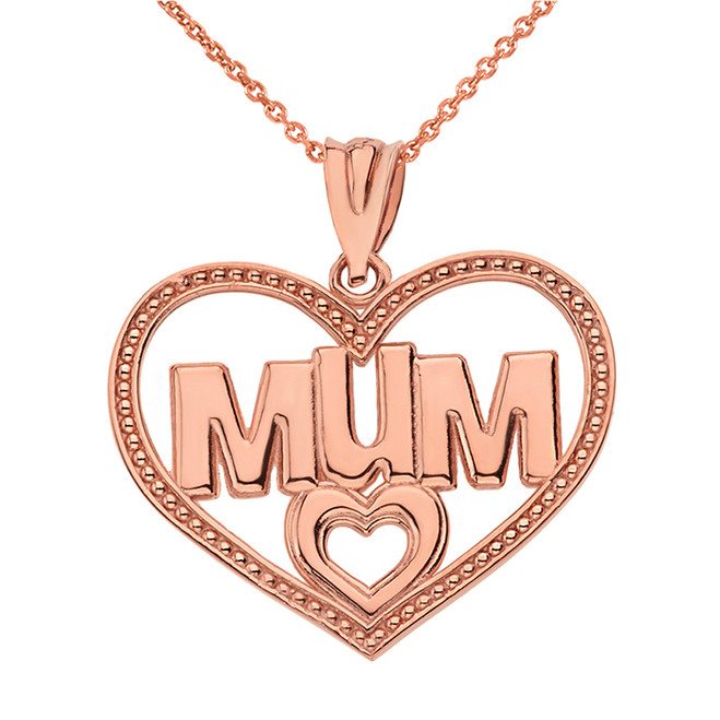 Solid Rose Gold Dotted Texture Double Hearts Mum Pendant Necklace