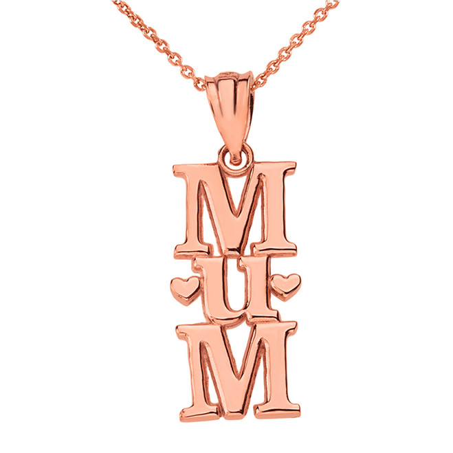 Solid Rose Gold Vertical Heart Text Mum Pendant Necklace
