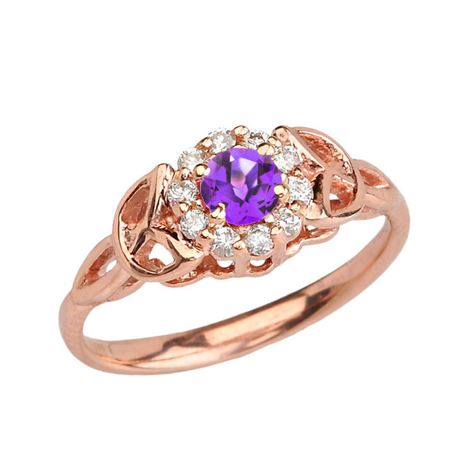 Rose  Gold  Diamond and Amethyst  Engagement/Promise Ring