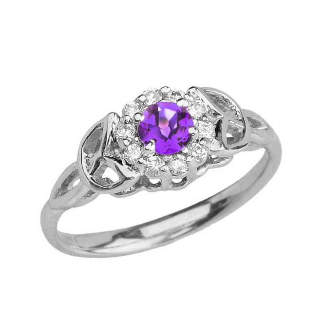 White Gold  Diamond and Amethyst  Engagement/Promise Ring