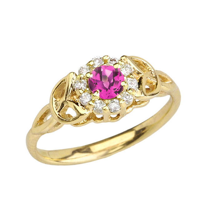 Yellow Gold  Diamond and Alexandrite (LCAL) Engagement/Promise Ring
