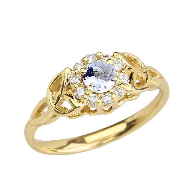 Yellow Gold  Diamond and Aquamarine  Engagement/Promise Ring