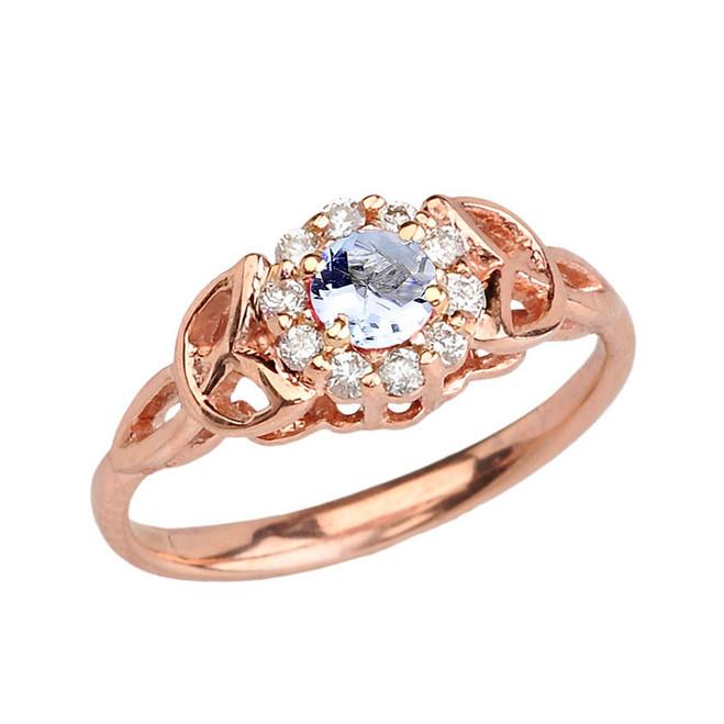 Rose Gold  Diamond and Aquamarine  Engagement/Promise Ring