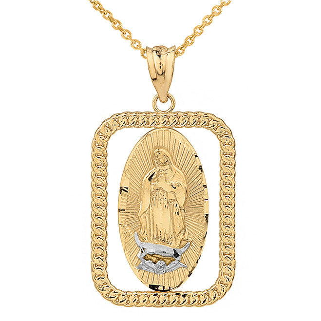 Solid Two Tone Yellow Gold Cuban Link Rectangular Frame Diamond Cut Lady of Guadalupe Pendant Necklace