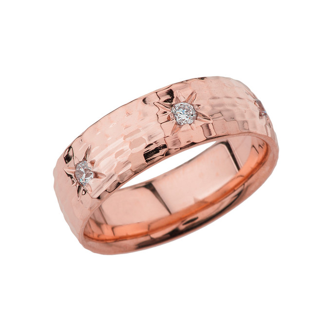Rose Gold 7 1\2 Hammered Diamond Mens Wedding Band