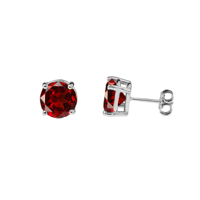 10K White Gold January Birthstone Garnet (LCG) Earrings