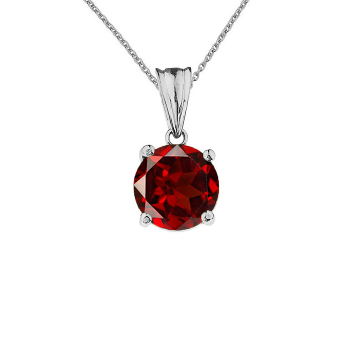 10K White Gold January Birthstone Garnet (LCG) Pendant Necklace