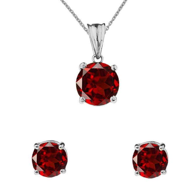 10K White Gold January Birthstone Garnet (LCG) Pendant Necklace & Earring Set