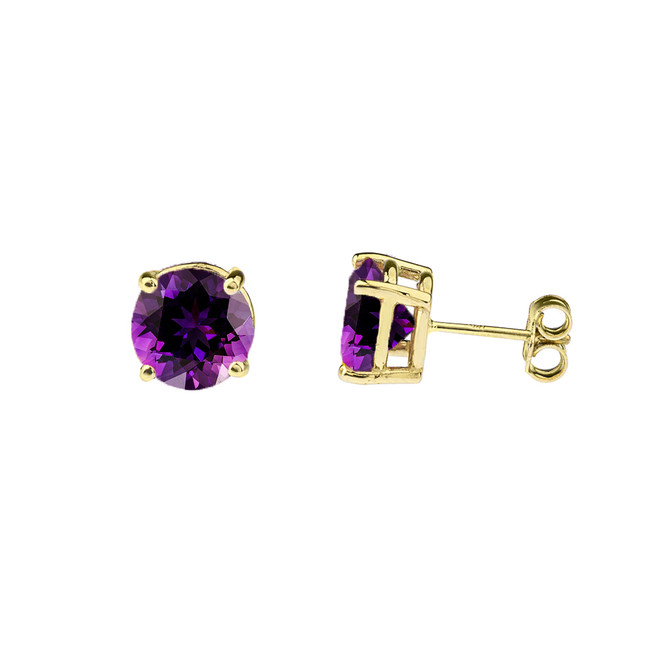 10K Yellow Gold February Birthstone Amethyst (LCAM) Earrings