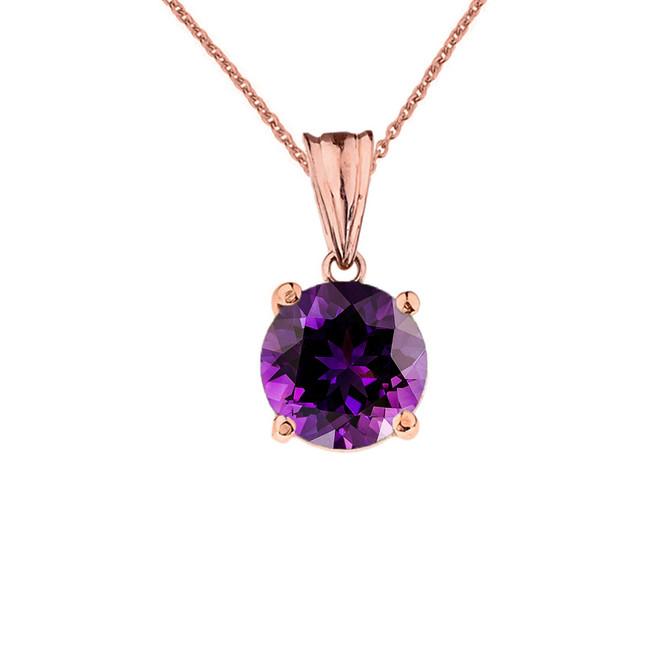 10K Rose Gold February Birthstone Amethyst (LCAM) Pendant Necklace