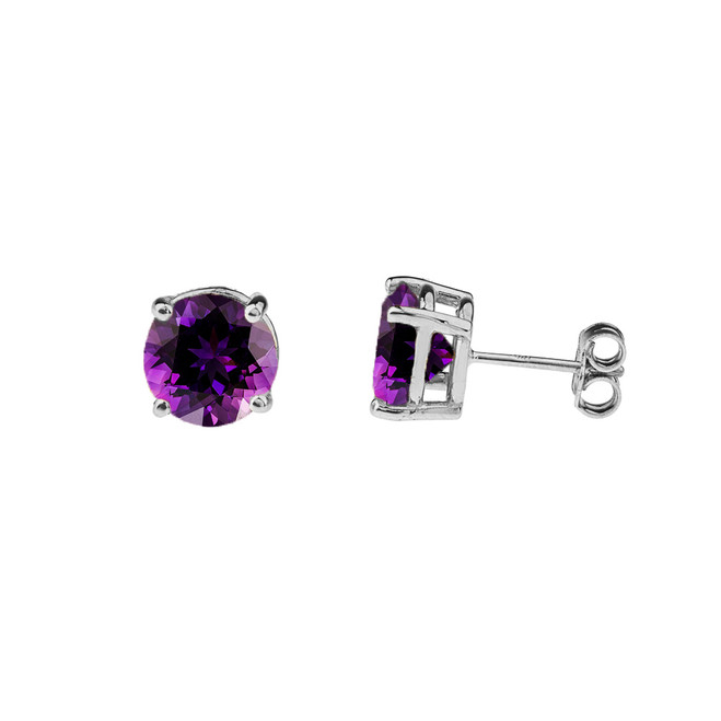 10K White Gold February Birthstone Amethyst (LCAM) Earrings