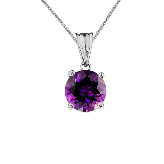 10K White Gold February Birthstone Amethyst (LCAM) Pendant Necklace