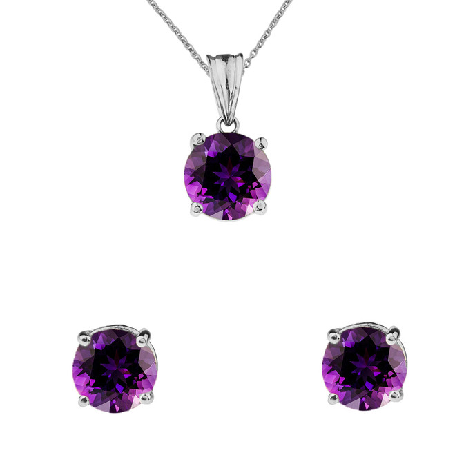 10K White Gold February Birthstone Amethyst (LCAM) Pendant Necklace & Earring Set