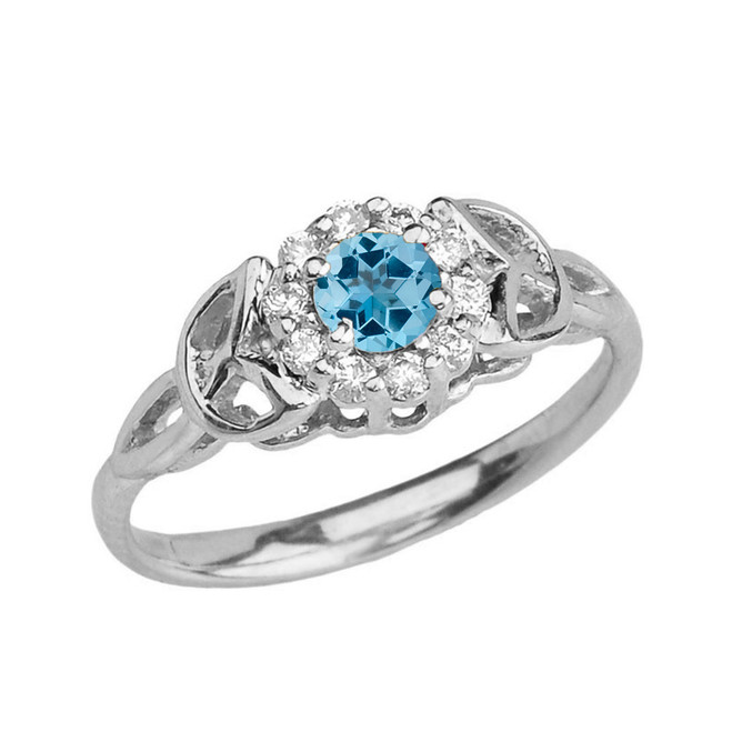 White  Gold  Diamond and Blue Topaz   Engagement/Promise Ring