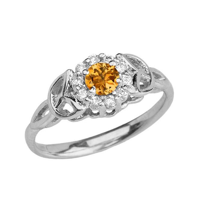 White  Gold  Diamond and Citrine   Engagement/Promise Ring