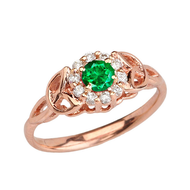 Rose Gold  Diamond and  Emerald   Engagement/Promise Ring