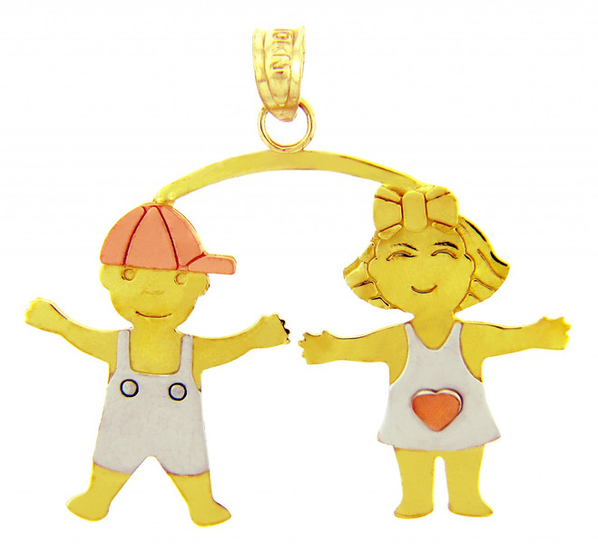 Tri-Tone Gold Boy and Girl Charm