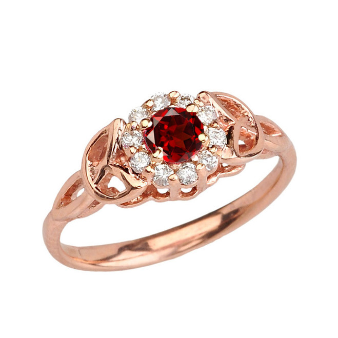 Rose  Gold  Diamond and  Garnet  Engagement/Promise Ring