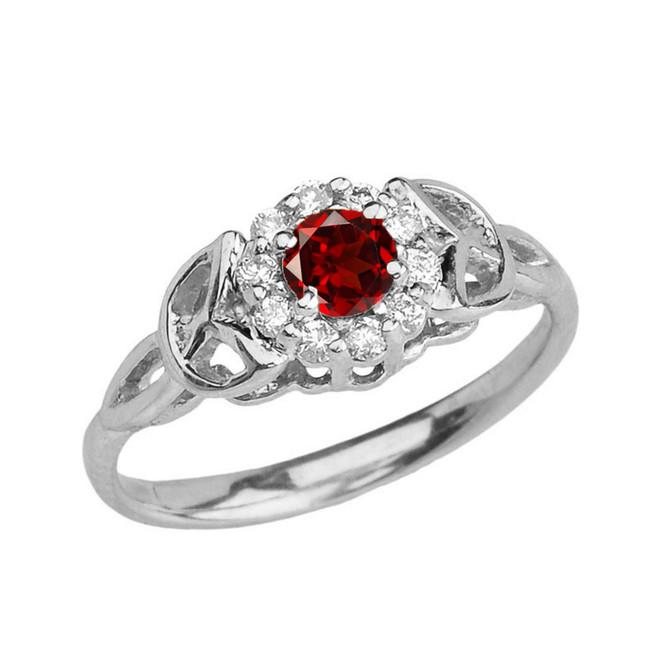 White Gold  Diamond and  Garnet  Engagement/Promise Ring