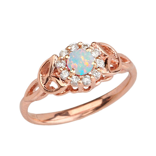 Rose Gold  Diamond and Opal  Engagement/Promise Ring