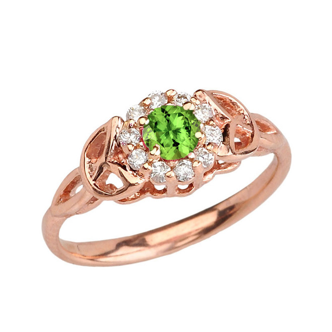 Rose  Gold  Diamond and Peridot Engagement/Promise Ring