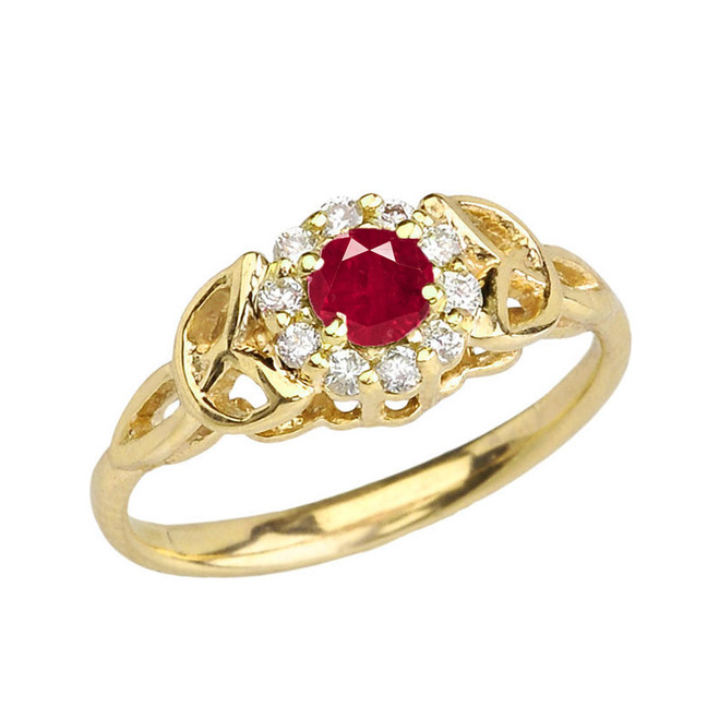 Yellow Gold  Diamond and Ruby  Engagement/Promise Ring