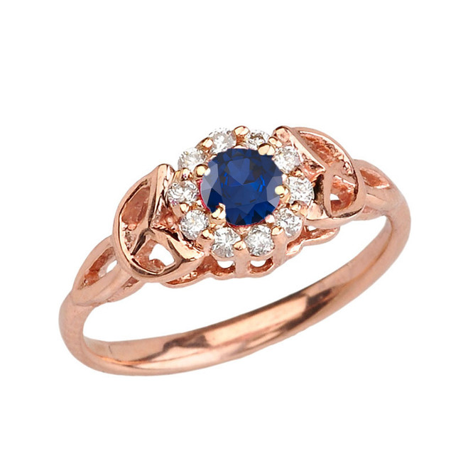 Rose Gold  Diamond and Sapphire   Engagement/Promise Ring