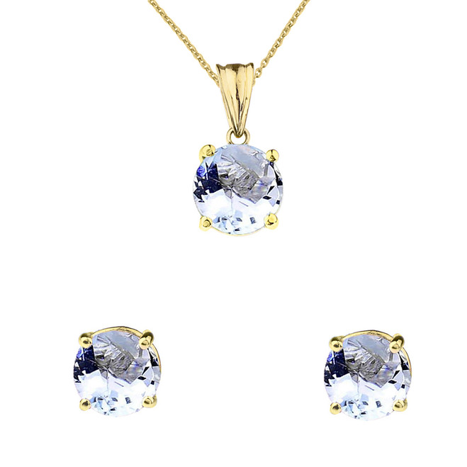 10K Yellow Gold March Birthstone Aquamarine (LCAQ) Pendant Necklace & Earring Set