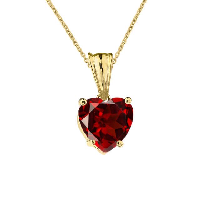 10K Yellow Gold Heart January Birthstone Garnet (LCG) Pendant Necklace