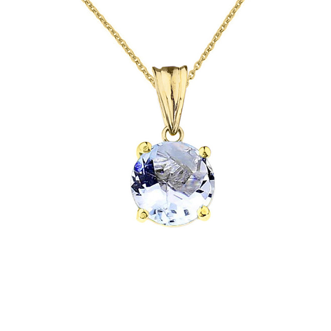 10K Yellow Gold March  Birthstone  Aquamarine (LCAQ) Pendant Necklace