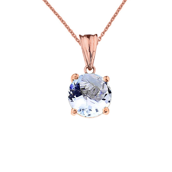 10K Rose  Gold March  Birthstone  Aquamarine (LCAQ) Pendant Necklace