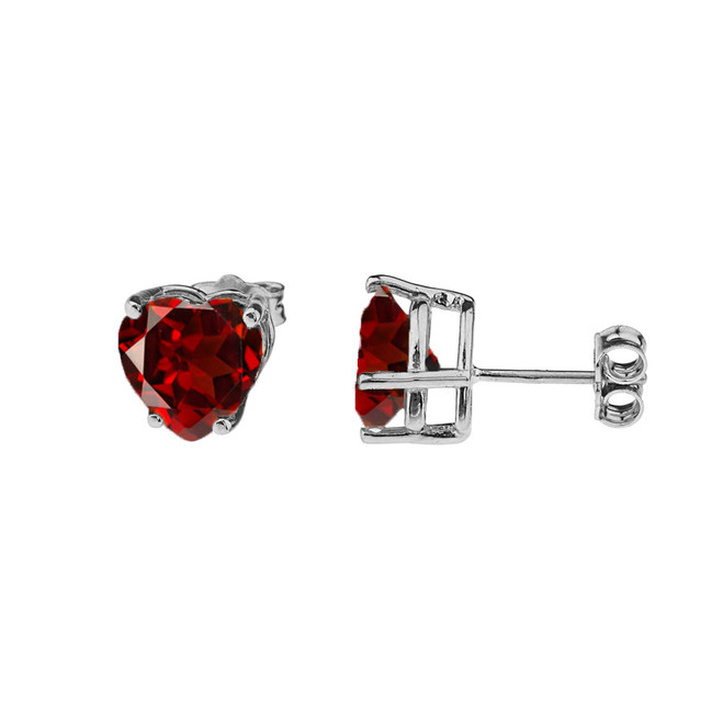10K White Gold Heart January Birthstone Garnet (LCG) Earrings