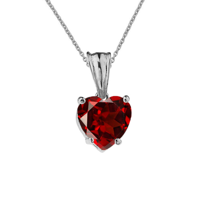 10K White Gold Heart January Birthstone Garnet (LCG) Pendant Necklace