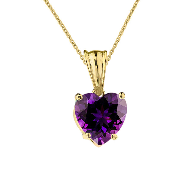 10K Yellow Gold Heart February Birthstone Amethyst (LCAM) Pendant Necklace