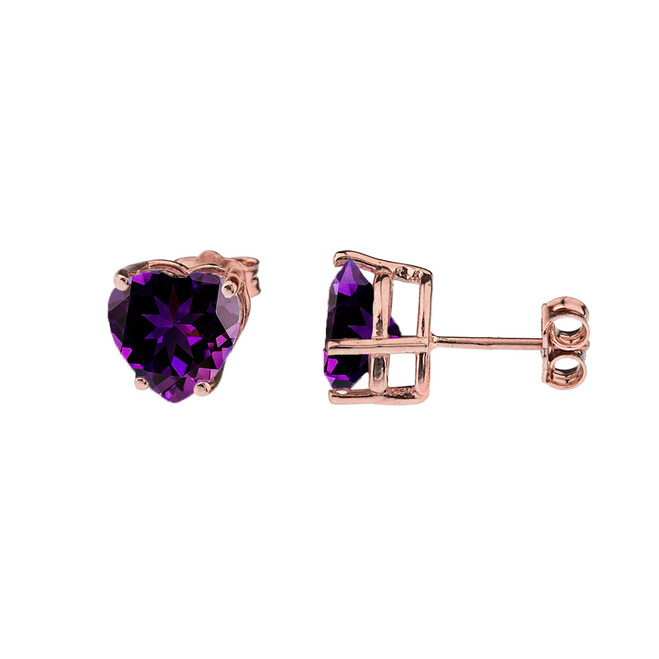 10K Rose Gold Heart February Birthstone Amethyst (LCAM) Earrings