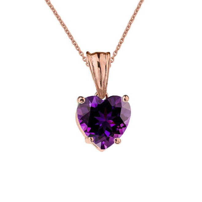 10K Rose Gold Heart February Birthstone Amethyst (LCAM) Pendant Necklace