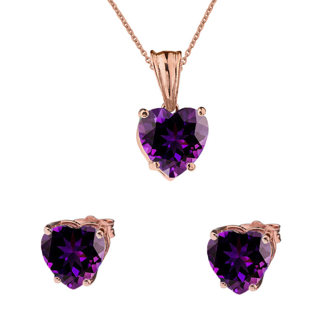 10K Rose Gold Heart February Birthstone Amethyst (LCAM) Pendant Necklace & Earring Set