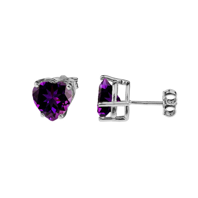 10K White Gold Heart February Birthstone Amethyst (LCAM) Earrings