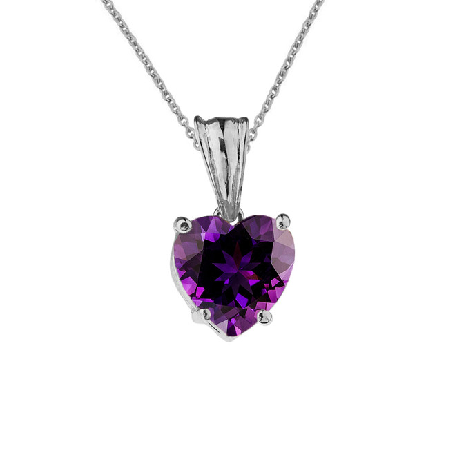 10K White Gold Heart February Birthstone Amethyst (LCAM) Pendant Necklace