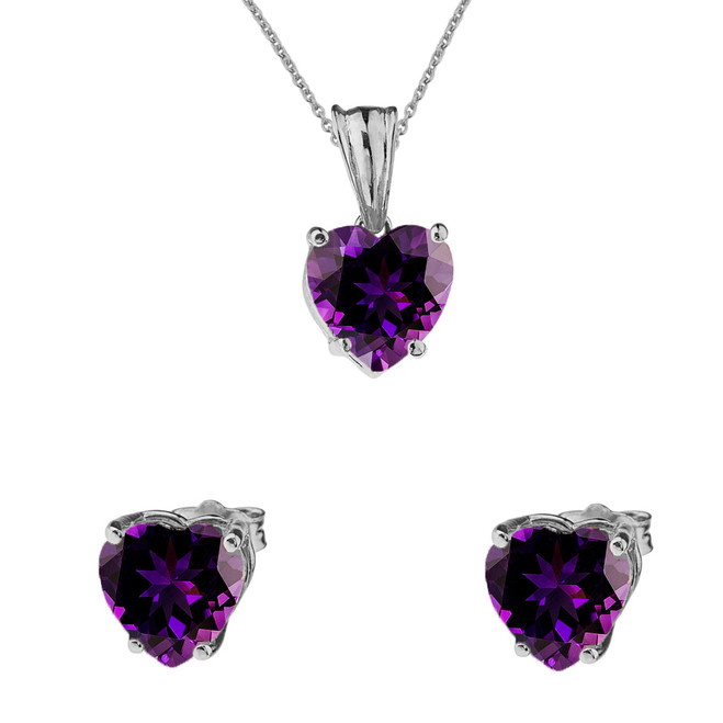 10K White Gold Heart February Birthstone Amethyst (LCAM) Pendant Necklace & Earring Set