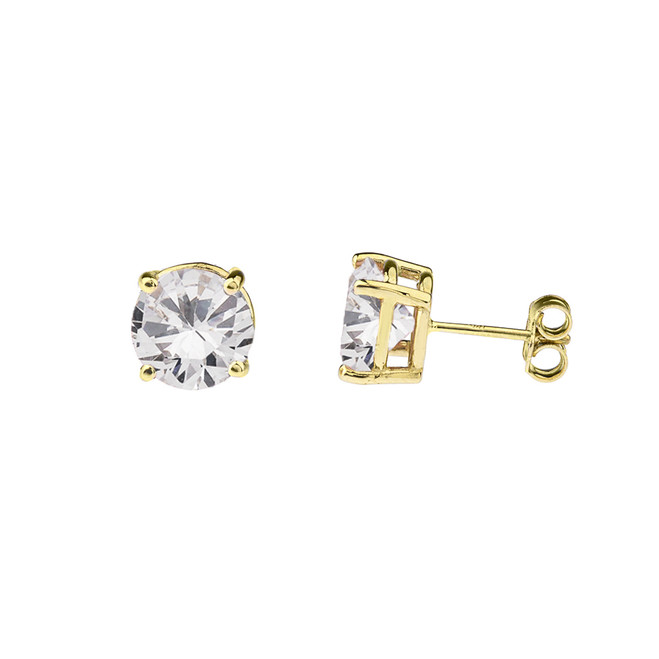 10K Yellow Gold April Birthstone Cubic Zirconia (CZ) Earrings