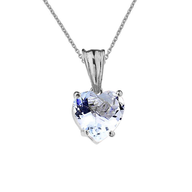 10K White Gold Heart March Birthstone Aquamarine (LCAQ) Pendant Necklace