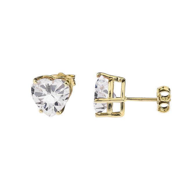 10K Yellow Gold Heart April Birthstone Cubic Zirconia (C.Z) Earrings