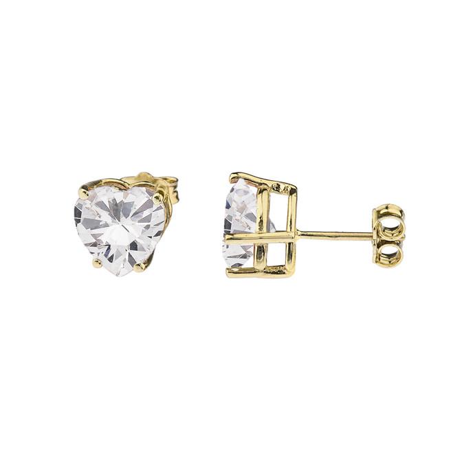 10K Yellow Gold Heart April Birthstone Cubic Zirconia (C.Z) Earrings