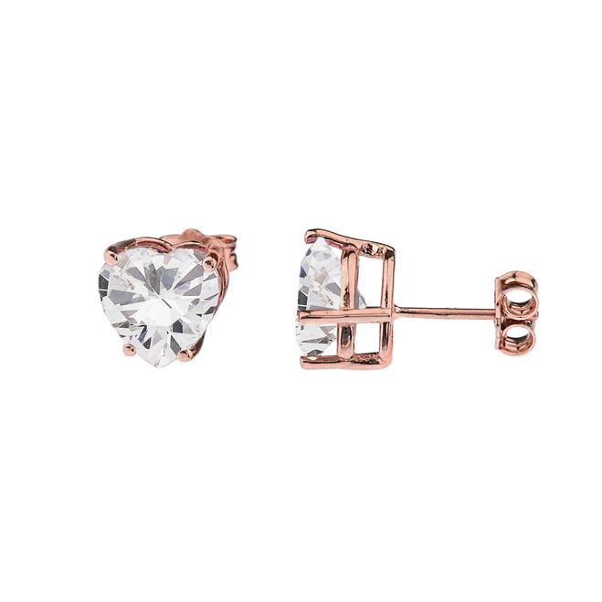 10K Rose Gold Heart April Birthstone Cubic Zirconia (C.Z) Earrings