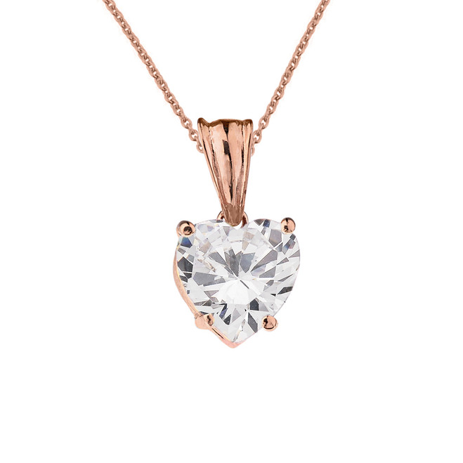 10K Rose  Gold Heart April Birthstone Cubic Zirconia (C.Z) Pendant Necklace