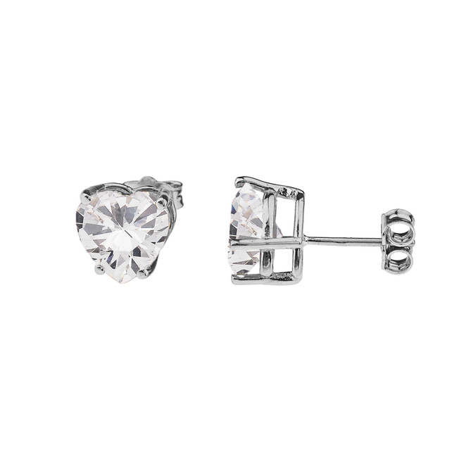 10K White Gold Heart April Birthstone Cubic Zirconia (C.Z) Earrings