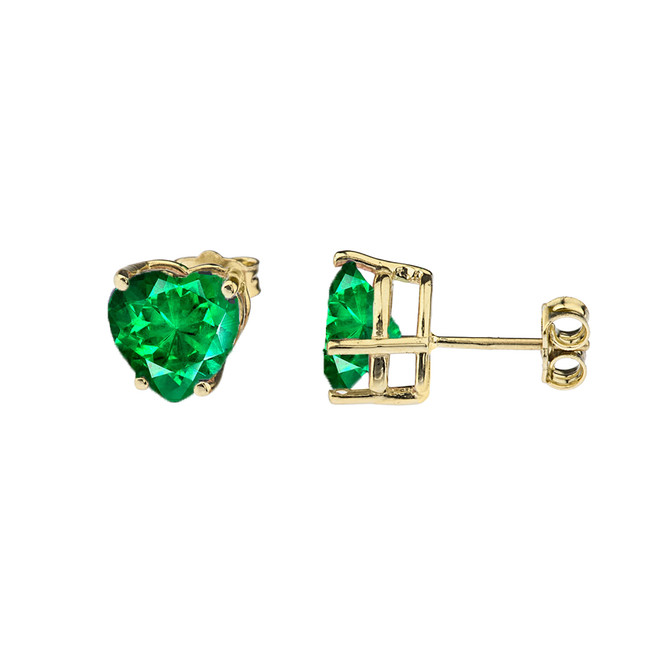 10K Yellow Gold Heart May Birthstone Emerald  (LCE) Earrings