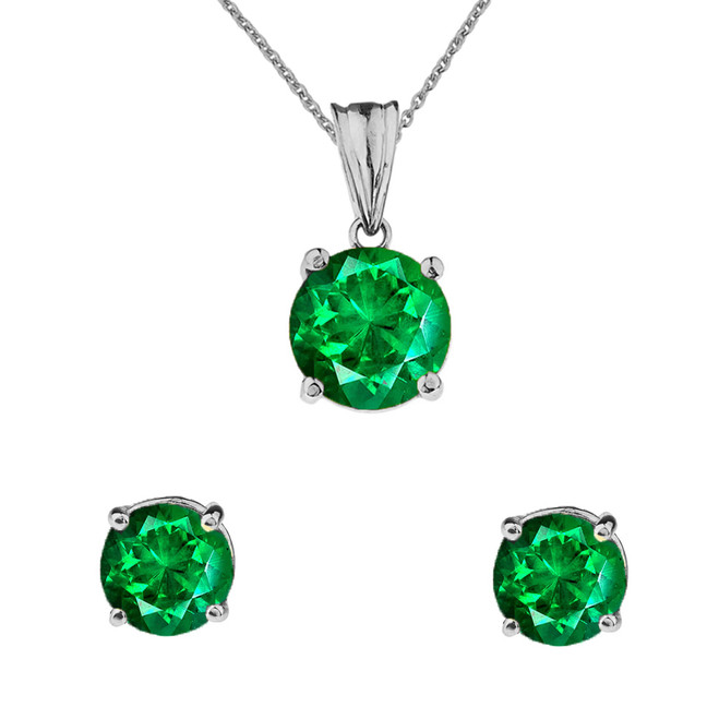 10K White  Gold May Birthstone Emerald (LCE) Pendant Necklace & Earring Set