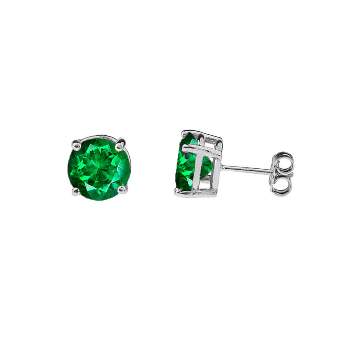 10K White Gold May Birthstone Emerald (LCE) Earrings